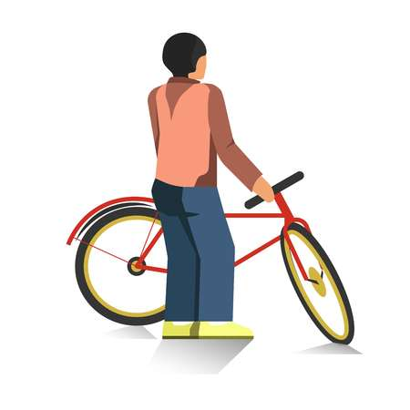 handlebar: Person stands and holds red bicycle isolated illustration Stock Photo