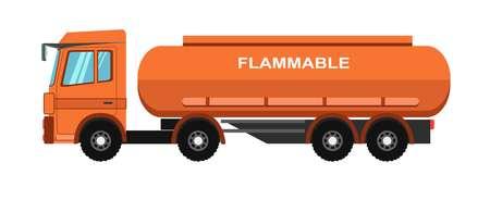 danger: Orange fuel truck Illustration