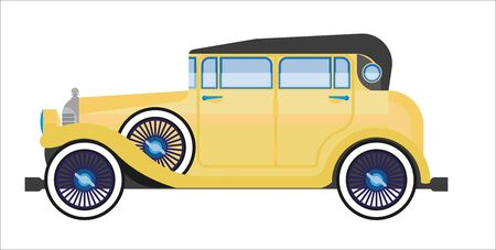 aged: Yellow retro car Illustration