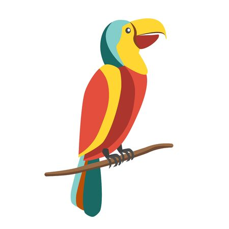 Colorful parrot on branch Illustration