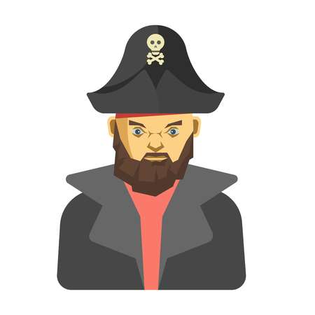 skull and crossed bones: Bearded pirate in dark clothes.