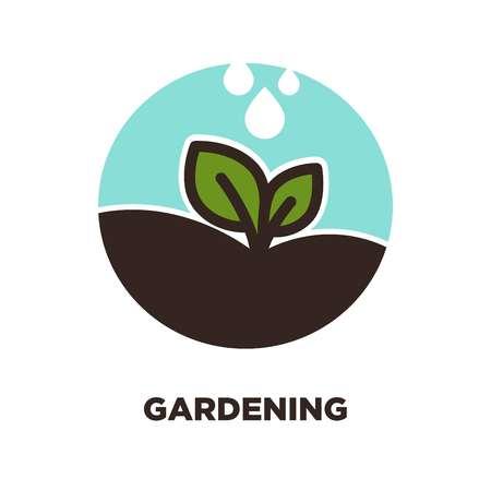 gotas de agua: Petal on gardening symbol.