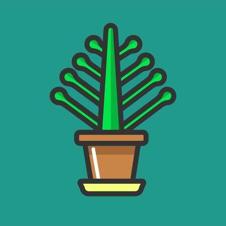 potting soil: Simple potted flower Illustration