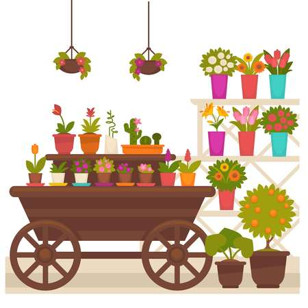 Wagon with flower pots