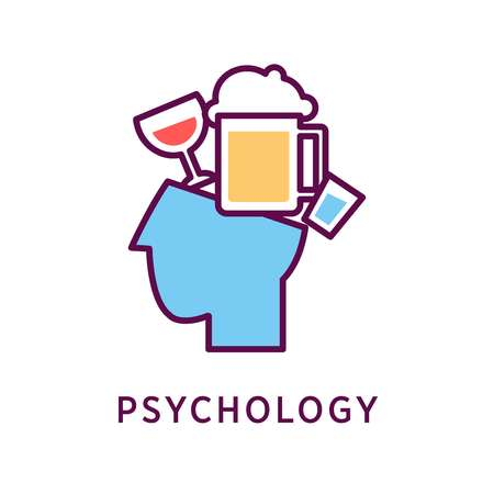 psychoanalysis: Head with different alcohol