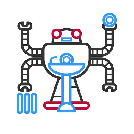 Multitasking futuristic droid