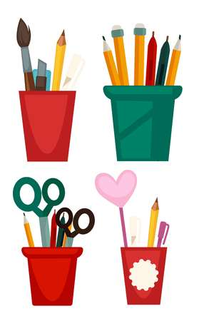 writing instruments: Different cups with pencils