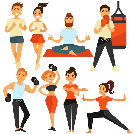 People fitness and sport exercise or training vector icons Illustration