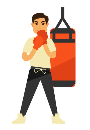 Man boxing punching bag or box ball vector fitness training icons