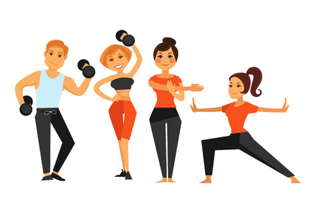 happy people: Man and woman in gym making sport fitness exercises vector icons. Illustration