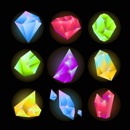 ruby: Crystals or sparkling gemstones vecor icons set Illustration