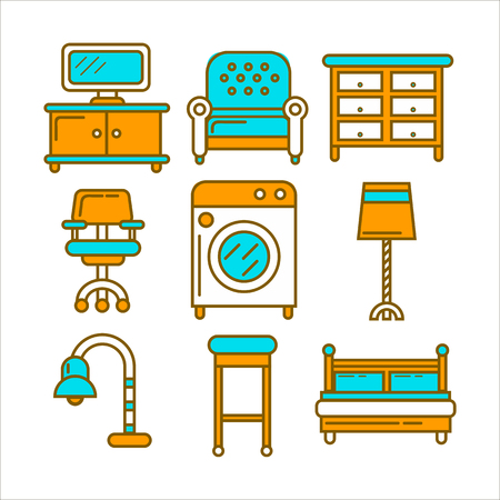 Home and room furniture interior accessories or appliances vector icons set.