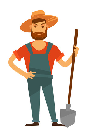 countryman: Farmer man with spade in hat, vector farm agriculture