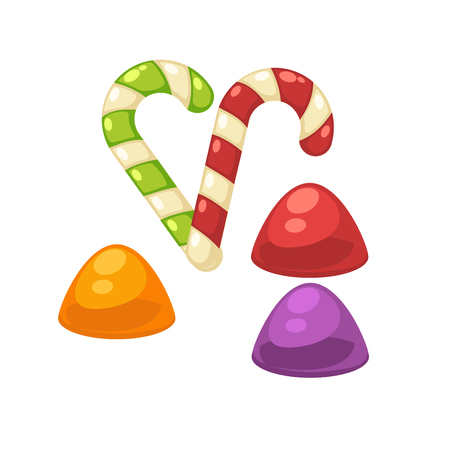 Candy canes and marmalade confectionery vector isolated flat icons