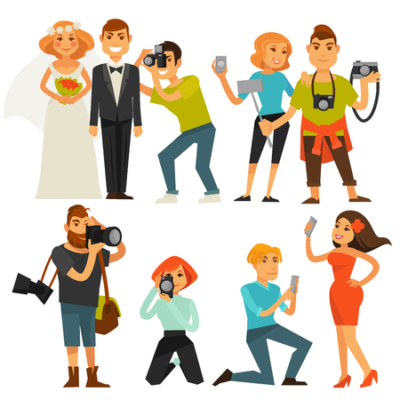 Photography and photographers at travel, wedding or smartphone selfie vector flat icons Illustration