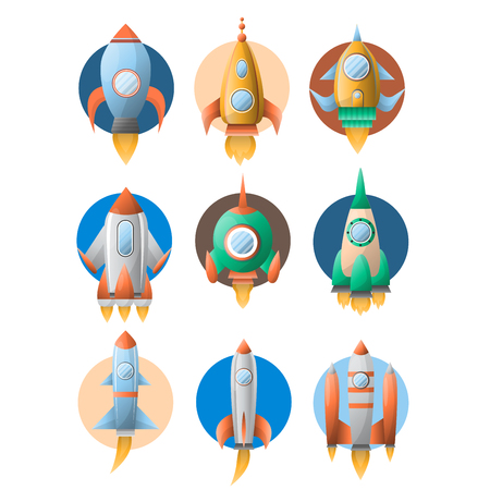 Rockets spaceship vector flat cartoon icons