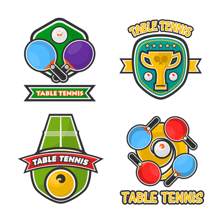 competitions: Ping pong table tennis club and tournament award cups vector icons set