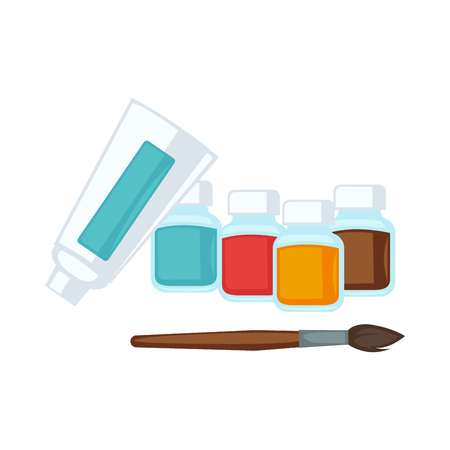 Artist stationery paints and paint brush vector flat icons set Vector Illustration