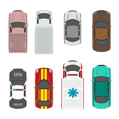 Passagiers- en gemeentelijke dienstvervoermiddelen vector vlakke pictogrammen bovenaanzicht.