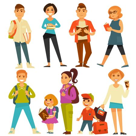 University students and school pupils teenagers and children vector flat icons Illustration
