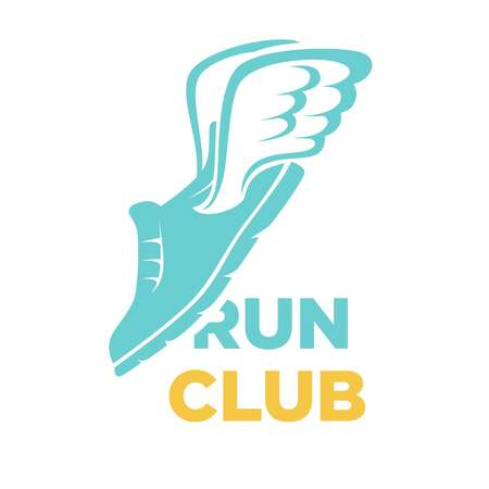 Run club vector icon of sport sneaker shoe and wings
