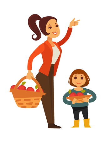 Woman and child gather apple fruit harvest in basket vector flat icons Illustration