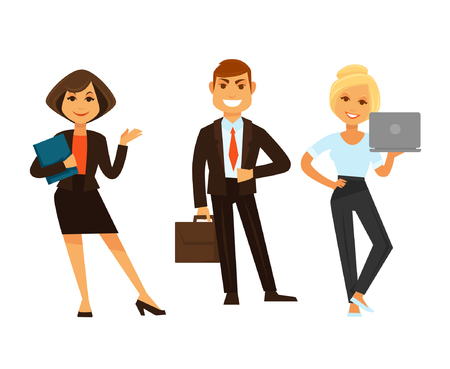 woman laptop: Business people vector icons of manager clerk and director Illustration