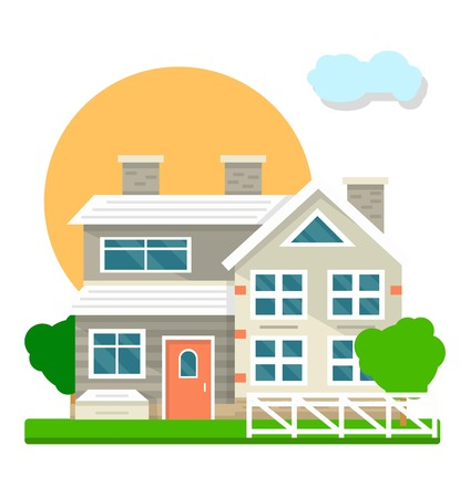 House mansion or villa cottage courtyard view vector flat icon.