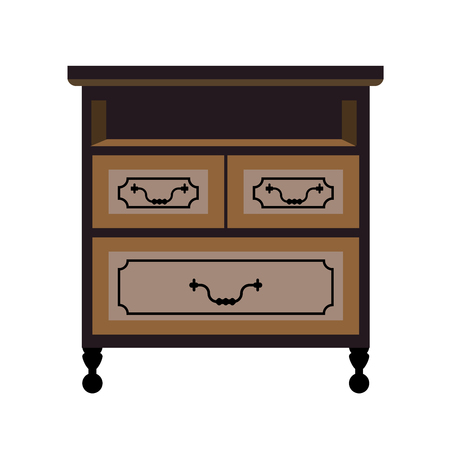 piece of furniture: Chest of drawers retro furniture piece vector flat icon