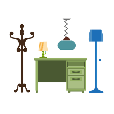 Furniture pieces living room lamp, hanger, chest of drawers vector flat icons Illustration