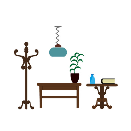 Furniture pieces living room lamp, hanger and table vector flat icons.