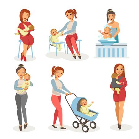swaddle: Mother nursing newborn child vector flat icons Illustration