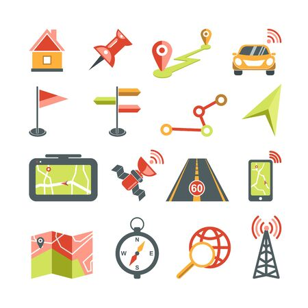 Navigation vector icons set for car navigator map application template