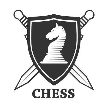 Chess club vector horse and shield label or badge icon template.