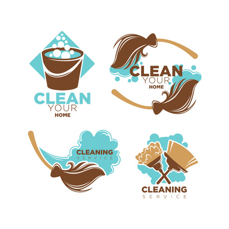 Home cleaning service vector icons set of brooms and duster brushes Illustration