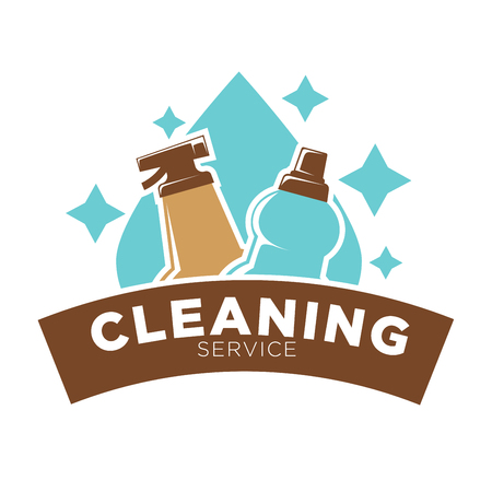 drops of water: Home cleaning service vector icon of water drop and washing soap cleaner
