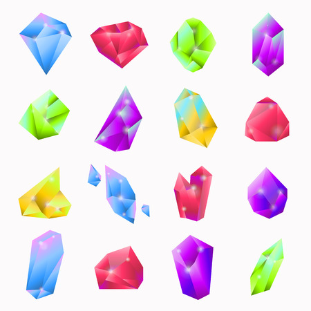 minerals: Precious stones in various shapes and colors collection on white. Minerals for making jewelry or other decorative things for women. Vector colorful poster of luxurious decoration and adornment