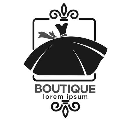 clothing store: Boutique black logo label with dress in frame isolated on white. Vector colorless illustration in flat design of trendy and luxurious shop emblem with clothes for women. Fashion industry template