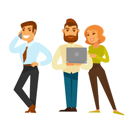 woman male: Business people group of three isolated on white. Man and woman working with laptop and smiling male person speaking over telephone. Leadership and partnership template flat vector illustration