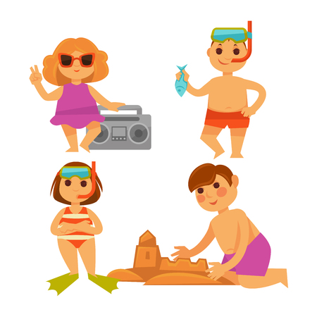 Four children having fun on hot summer vacations. Vector colorful illustration in flat design of little girls with tape recorder and in fins, small boys in diving glasses and making sand castle Vectores