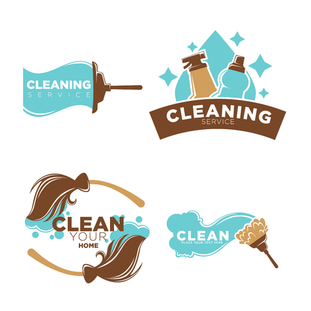 Cleaning service logo emblems with equipments collection on white. Colorful labels presenting company that cleans houses and offices. Vector poster in flat design of badges with broom or mop Illustration