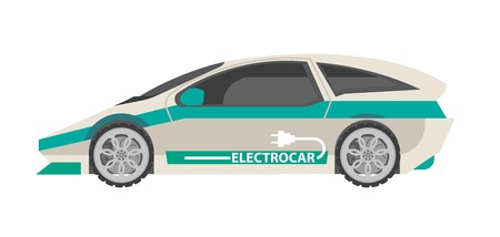 car: Modern white electrocar with turquoise stripes isolated illustration Illustration