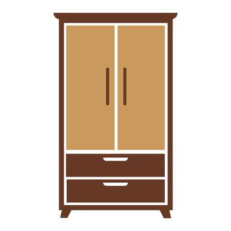 modern interior: Brown wooden simple cartoon wardrobe with beige chest of drawers and specious cabinets big isolated on white background.