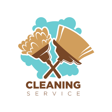 Cleaning service isolated logotype with broom and mop against blue spot on white. Vector colorful illustration in flat design of business company badge dealing with cleanness. Clean and tidy concept.