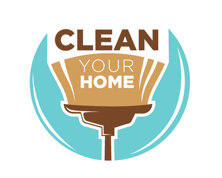clean home: Clean your home logotype design with broom isolated on blue spot on white. Vector colorful illustration in flat design of business company badge dealing with cleanness. Cleaning service tidy concept.