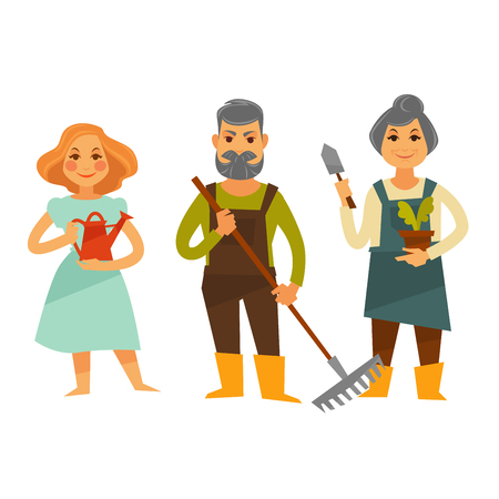 Three people with tools for working in garden vector illustration. Senior man holds rake, woman with grey hair keeps flowerpot and instrument for planting and young female person with watering pot