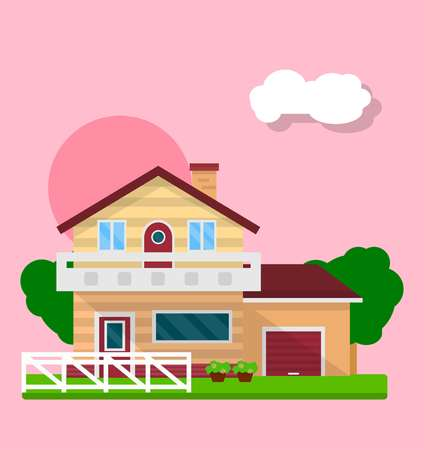 Vector illustration of suburban cute house and yard isolated on pink.