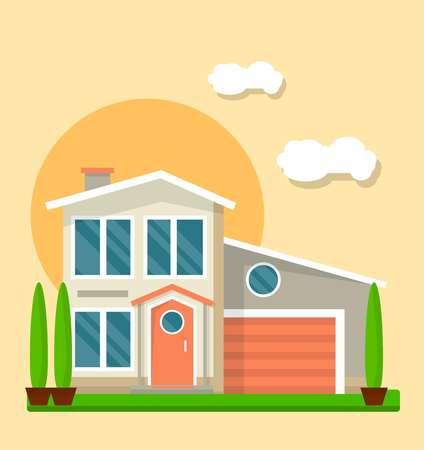 벡터 일러스트 레이 션 마당 및 노란색에 고립 된 집 외관.