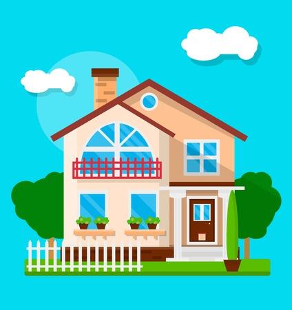 파란색에 고립 된 마당 및 생활 집의 외관의 벡터 일러스트 레이 션. 일러스트