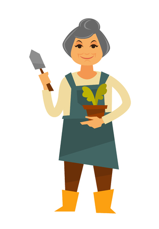 brown: Elderly grey woman in apron with pocket and yellow rubber boots holds green plant in clay brown pot and small iron trowel, stands and smiles isolated vector illustration on white background.